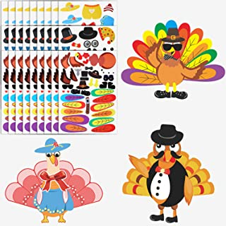 21 Sets Make-A-Turkey DIY Stickers Thanksgiving Stickers Thanksgiving Party Favors for Crafts Projects, Party Game Supplies, 3 Styles