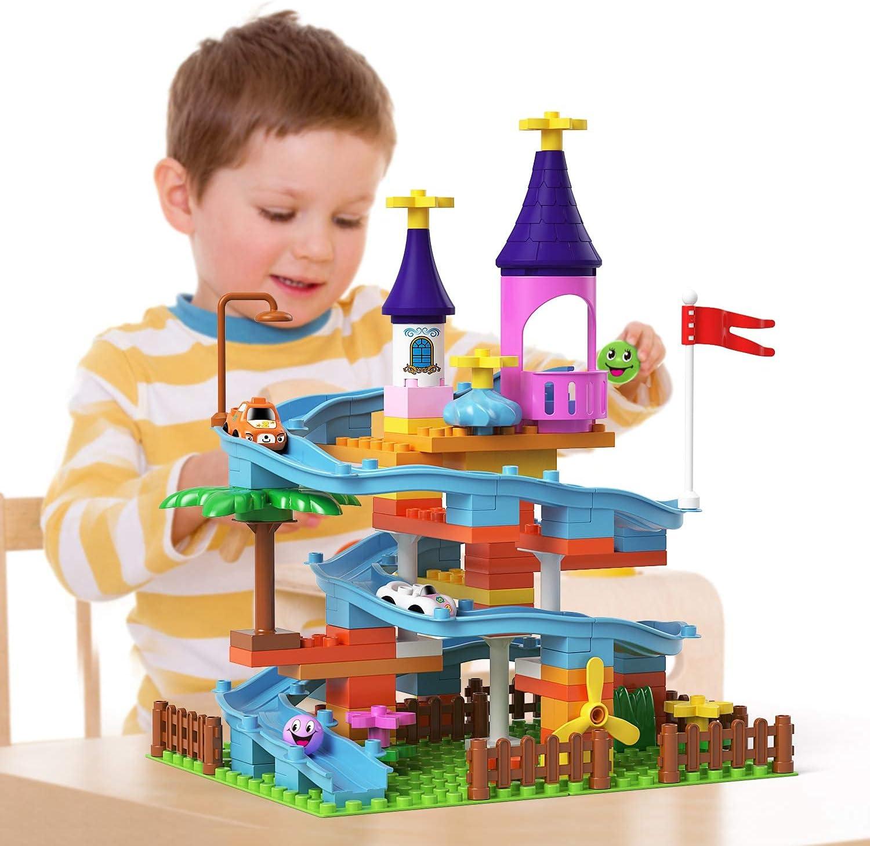 burgkidz Building Blocks Tracks Toys, Large Building Bricks Race