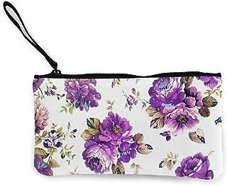 Rterss Rterss Münzbörse Geldbörse Geldbörse Geldbeutel Geldbeutel Geldbeutel Geldbeutel Schlüsselhalter Handy Tasche mit Griff bedrucktes Segeltuch Lila Vintage Blumen Vintage Personalisiert