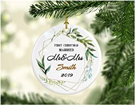 First Christmas Married Ornament 2019 Mr And Mrs Smith Wedding Gift 1st Holiday Married Couple Present Noel Tree Decorations Ideas Rustic Holiday Newlywed - Ceramic 3 Inches White