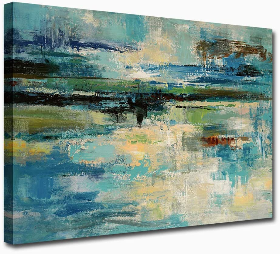 Large Abstract special price Canvas Wall Art Blue Decor Green for Bedroom Lowest price challenge