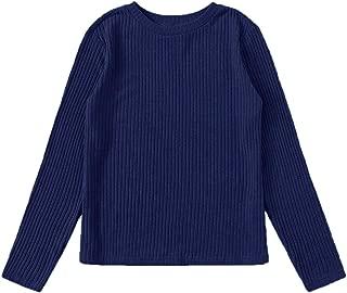 Verdusa Women's Casual Ribbed Knit Long Sleeve Basic T-Shirt Top