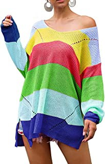 QIYUN.Z Women's Sweater Rainbow Color Matching Loose Long Sleeve Pullover Sweater