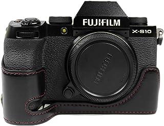 MUZIRI KINOKOO Etui ze skóry PU do FUJI X-S10 etui ochronne Fujifilm X-S10 etui dolna obudowa uchwyt etui - czarne