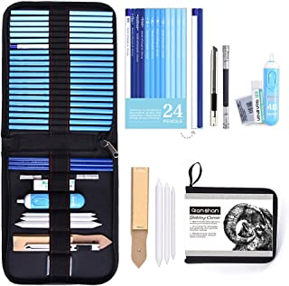 34pcs Art Supplies Graphite and Charcoal Pencils Set, Studio Includes Sketch Pencils Pencil Case Professional Sketching Tools for Beginner or Artist Drafting Shading