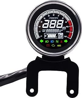 E-Bro 12V Multi Function Motorcycle LCD Digital Odometer Speedometer Tachometer Gauge Solid