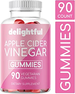 Delightful Apple Cider Vinegar Gummies with Pure, Organic, Non-GMO, Vegetarian ACV and Ginger Extract I for Detox, Weight Loss, and Cleanse I 90 Count I Alternative to Pills, Capsules, Liquid