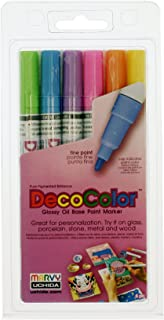 Uchida 200-6C 6-Piece Decocolor Fine Point Paint Marker Set