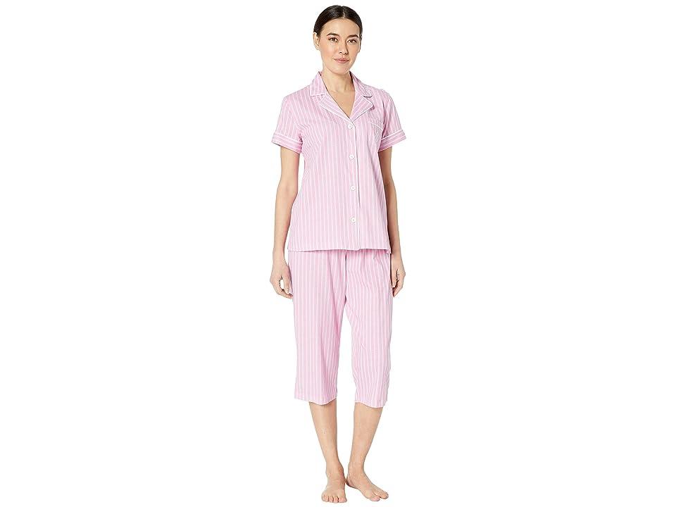 LAUREN Ralph Lauren Petite Short Sleeve Notch Collar Capris Pajama Set (Pink Stripe) Women