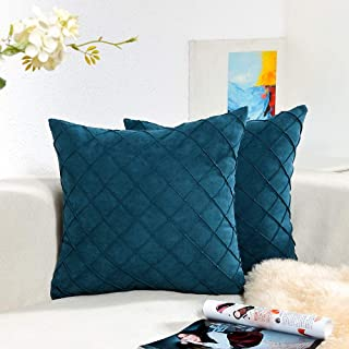 Homiin Decorative Throw Pillow Covers 18x18inch/45x45cm,Navy Bule Velvet Cushion Pillow Covers for Couch Bed Sofa car,2-Packs