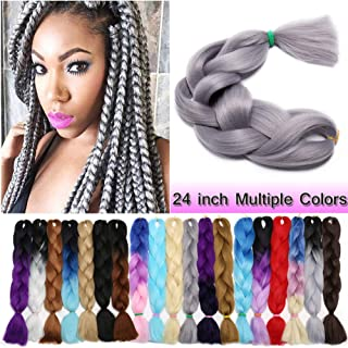 Jumbo Braiding Hair Grey 1 Bundle Crochet Twist Hair Extensions 24 inch Box Braids Heat Resistance Synthetic Hair for Women DIY Fun(24