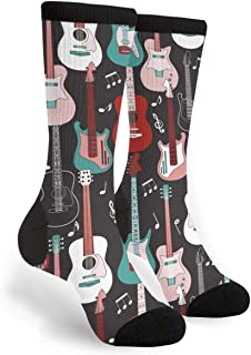 Unisex Fun Novelty Crazy Crew Socks Rock And Roll Guitars Dress Socks