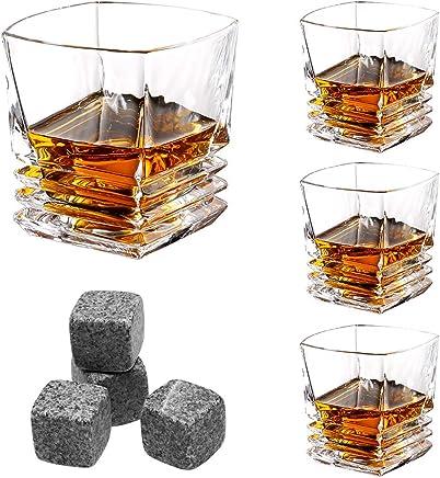 LANGRIA Coffret 4 Verres à Whisky 300ml avec 4 Pierres à Whisky, Verre sans Teint et sans Plomb Style Tumbler Traditionnel, Lavable en Lave Vaisselle pour Amateurs du Whisky Scotch (Set de 4 Verres)