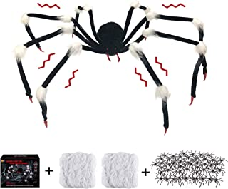 Timi&Hebe Halloween Decorations Outdoor 50'' Giant Spider with LED Eyes Spooky Sound with 131sqft Stretch Spiders Web and ...