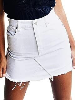 Women's High Waisted Jean Skirt Slim Fit Zip Front Elastic Bodycon Denim Mini Skirt