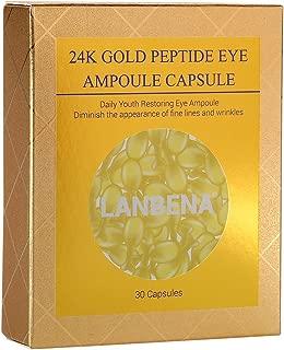 Eye Capsules, 24K Gold Peptide Anti-Aging Wrinkles Fine Lines Moisturizing Firming Eye Capsule Essence Ceramide Cream, Remove Eye Circles Eye Bags