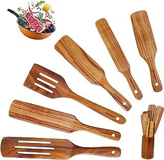 GIMGOM Wood Spurtles Kitchen Set - Teak Wooden Spatula Kitchen Utensils Set, Non-stick Pan Wooden Cooking Utensils for Sal...