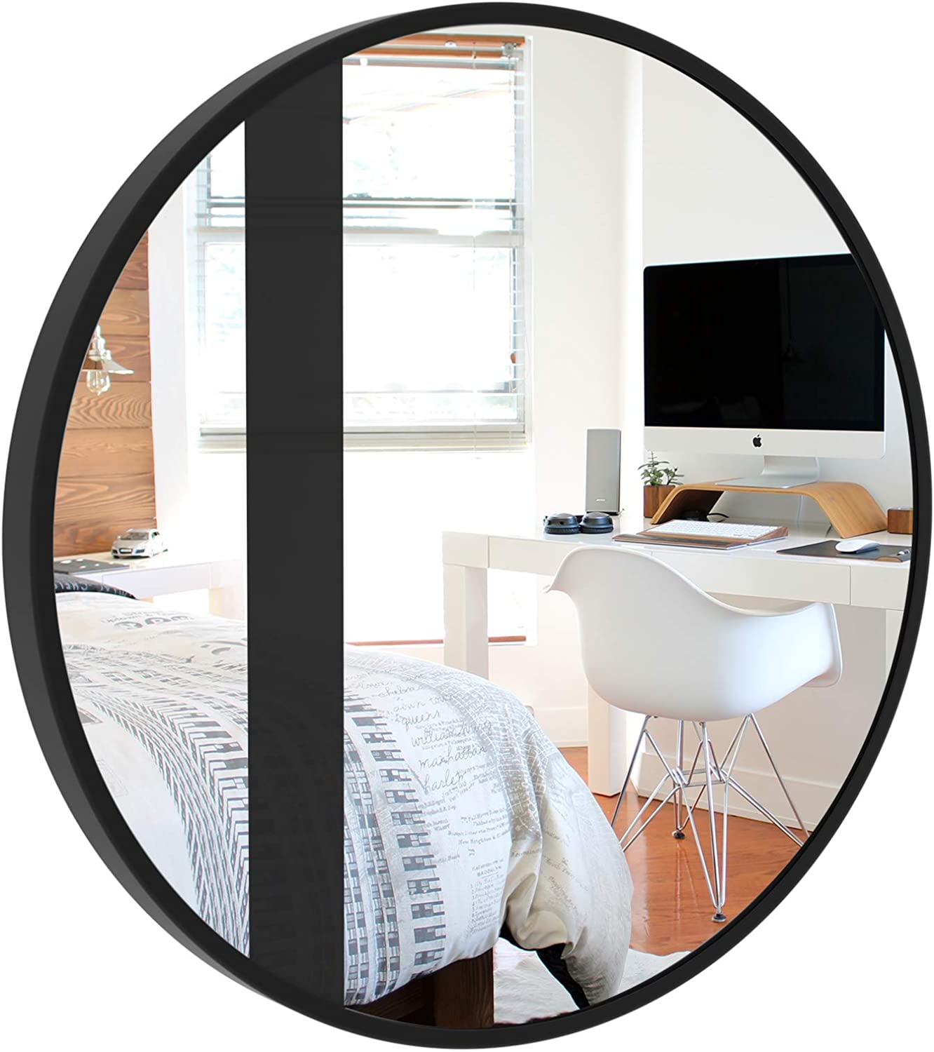 CLSYO Wall Mirror  Metal Frame Mirror 20in Round Wall Mirror with Black Stripes for Entryways, Living Rooms, Bathroom, Washrooms and More (Black)