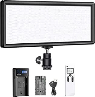 Neewer Super Fino 2,4G T120 en Cámara LED Video Luz Bicolor 3200-5600K Regulable con Pantalla LCD, Batería de Iones de Lit...