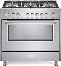 Verona Designer Series VDFSGG365SS 36 inch All Gas 5.0 Cu. Ft Range Oven 5 Sealed Brass Burners Cooktop Turbo Convection Stainless Steel