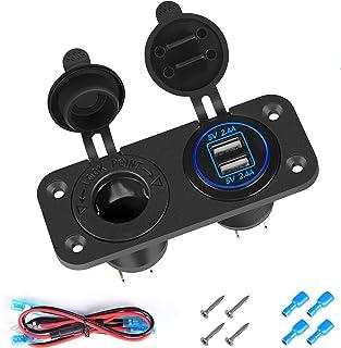 Thlevel Cargador de Coche USB Dual Toma de Encendedor de Cigarrillos 12 V Impermeable para Coche, Barco, Marino, Motocicle...