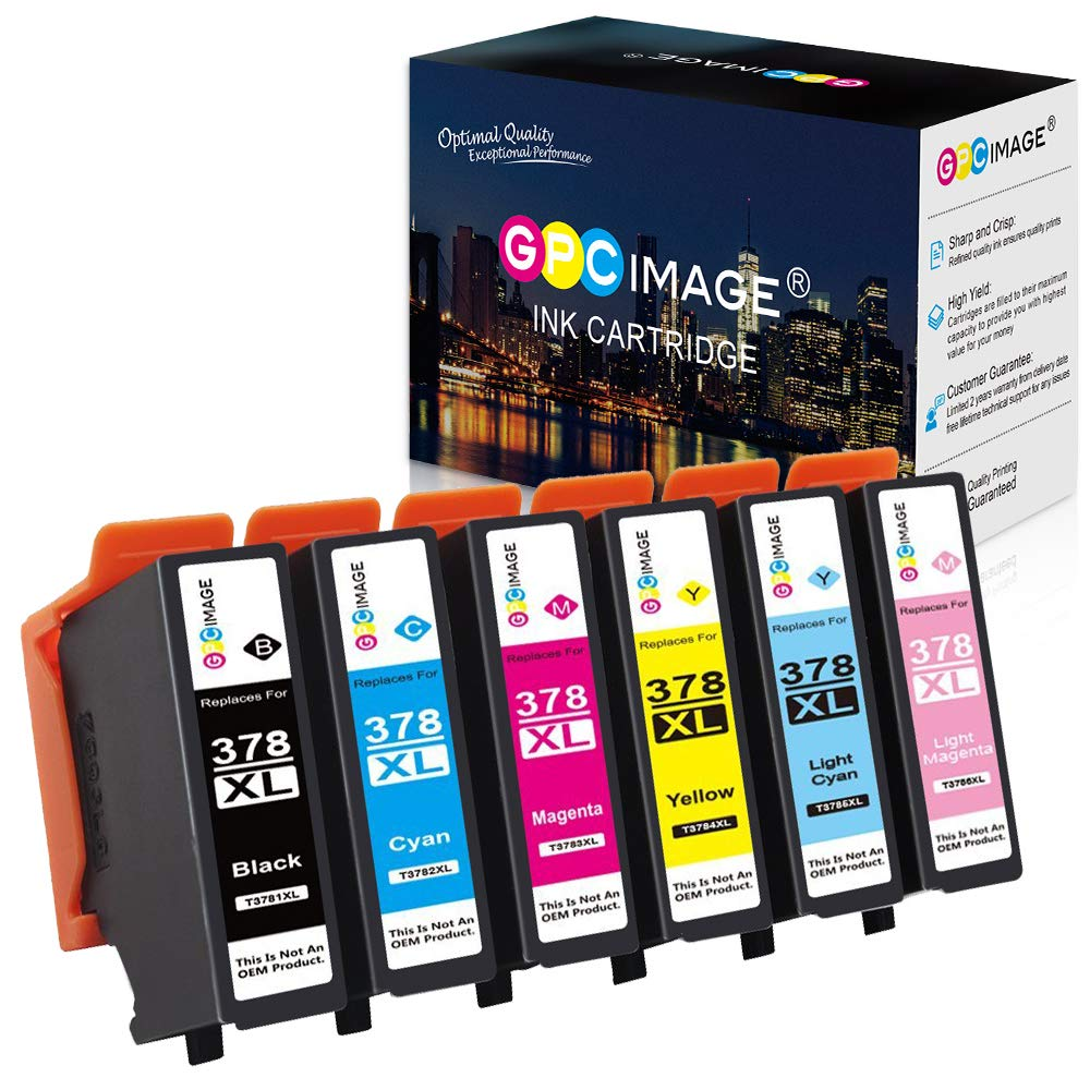 GPC Image 6 Pack 378 378XL Cartuchos de Tinta Compatible para Epson 378XL para Epson Expression Photo XP-8500 XP-8505 XP-15000 (Negro, Cian, Magenta, Amarillo, Cian Claro, Magenta Claro): Amazon.es: Electrónica