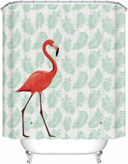 5e0f3b536b Uphome PEVA Bathroom Shower Curtain, Tropical Pink Flamingo with Leaves  Pattern - Waterproof and Mildewproof