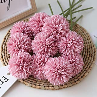Homyu Artificial Flowers Chrysanthemum Ball Flowers Bouquet 10pcs Present for Important People Glorious Moral for Home Office Coffee House Parties and Wedding Without Craft Paper(Fuchsia)