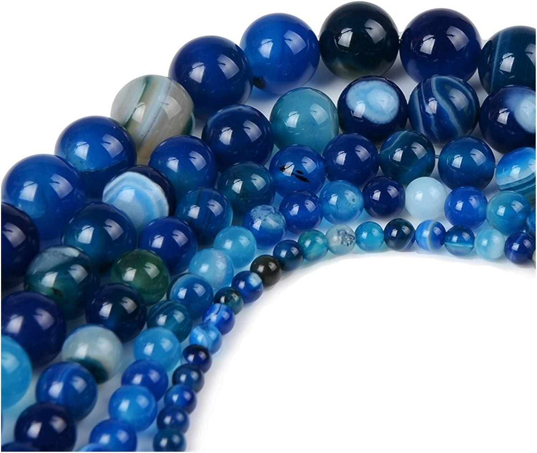 JINSUO NWXZU Granel 4,6,8,10,12mm Cuentas de Piedra Natural del Ojo del Tigre Negro Lava los Granos de Piedra Flojos for la Toma de Bricolaje Collar de Joyas Color : Dark Blue, Size : 4mm-92pcs