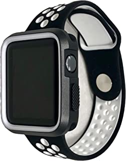 ECHC Smartwatch Sport Band Shock Proof Casing iWatch 38mm 42mm (Black White, 42mm)