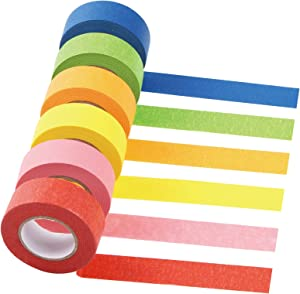 SEISSO Colored Masking Tape, Labeling Tape,Bright Painters Tape for Arts & Crafts, Paper Art Supplies, Classroom Decration Tape for DIY Craft, Kids,Teacher Suplies, 6 Pack 1 Inch 22 Yard Rolls