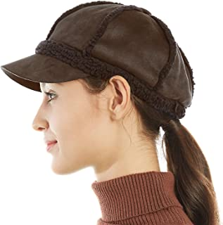FLY HAWK Winter Hats for Women, Classic Visor Baseball Cap Newsboy Cabbie Fuzzy Lined Cozy Beanie Hat