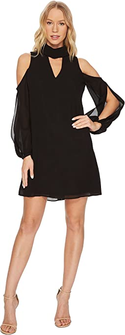 Vince Camuto - Chiffon V-Neck Float with Collar and Cold Shoulder Sleeve
