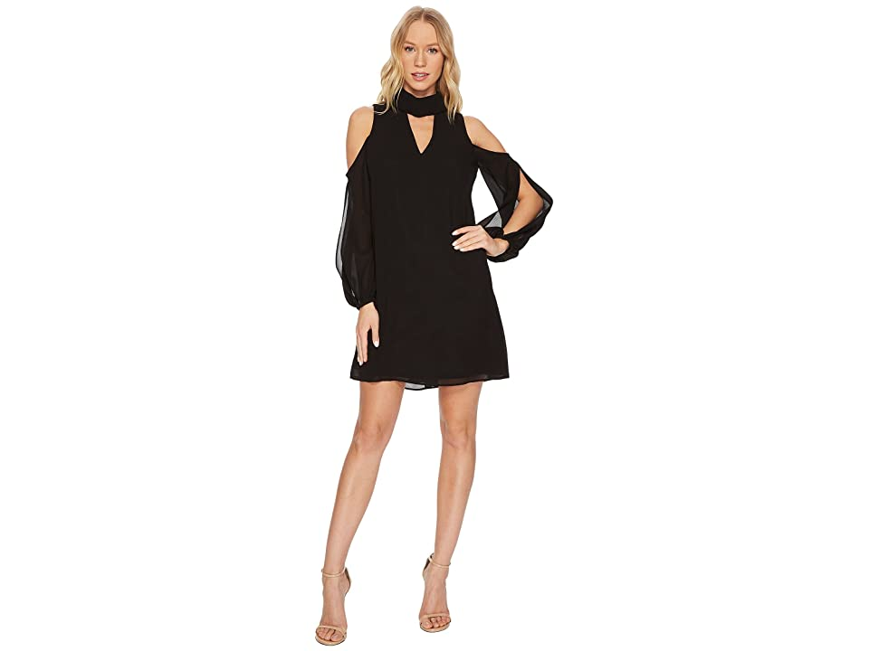 Vince Camuto Chiffon V-Neck Float with Collar and Cold Shoulder Sleeve (Black) Women