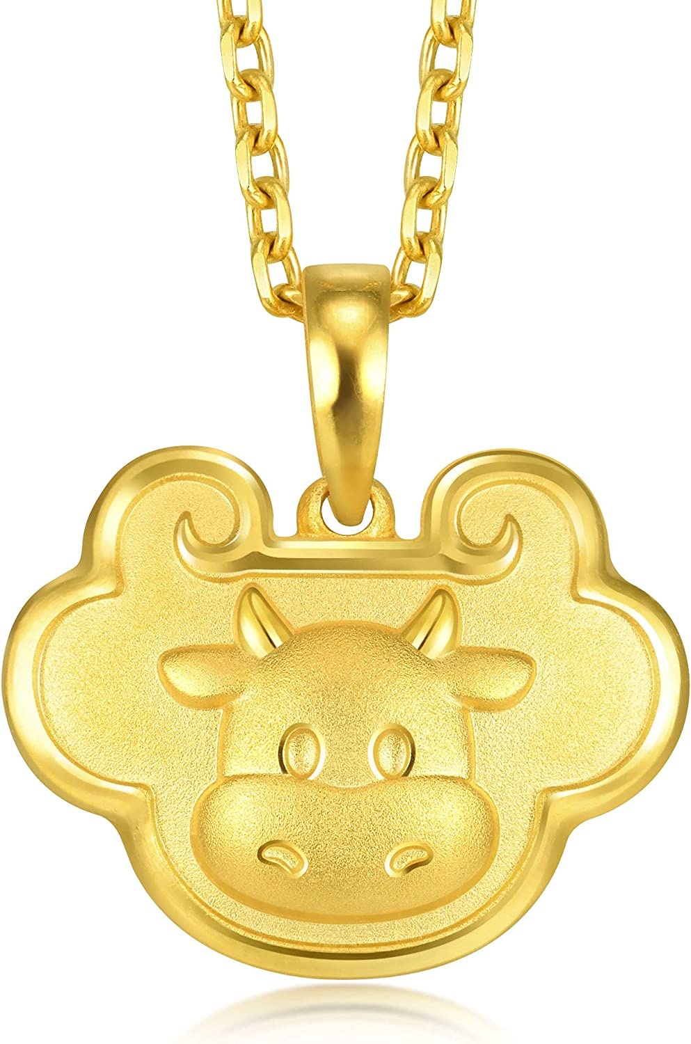 Chow Sang Sang 999.9 24K Solid Gold Price-by-Weight 3.04g Gold Ruyi Ox Pendant 91974P [Not Include the Neckace]