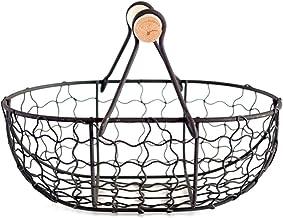 YYZZ Fruit basket, métal rétro basket with wooden handle, portable multifonctions vegetable, fruit, egg and groceries prac...