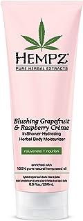 Hempz In-Shower Hydrating Herbal Body Moisturizer, Light Pink, Blushing Grapefruit/Raspberry Creme, 8.5 Fluid Ounce