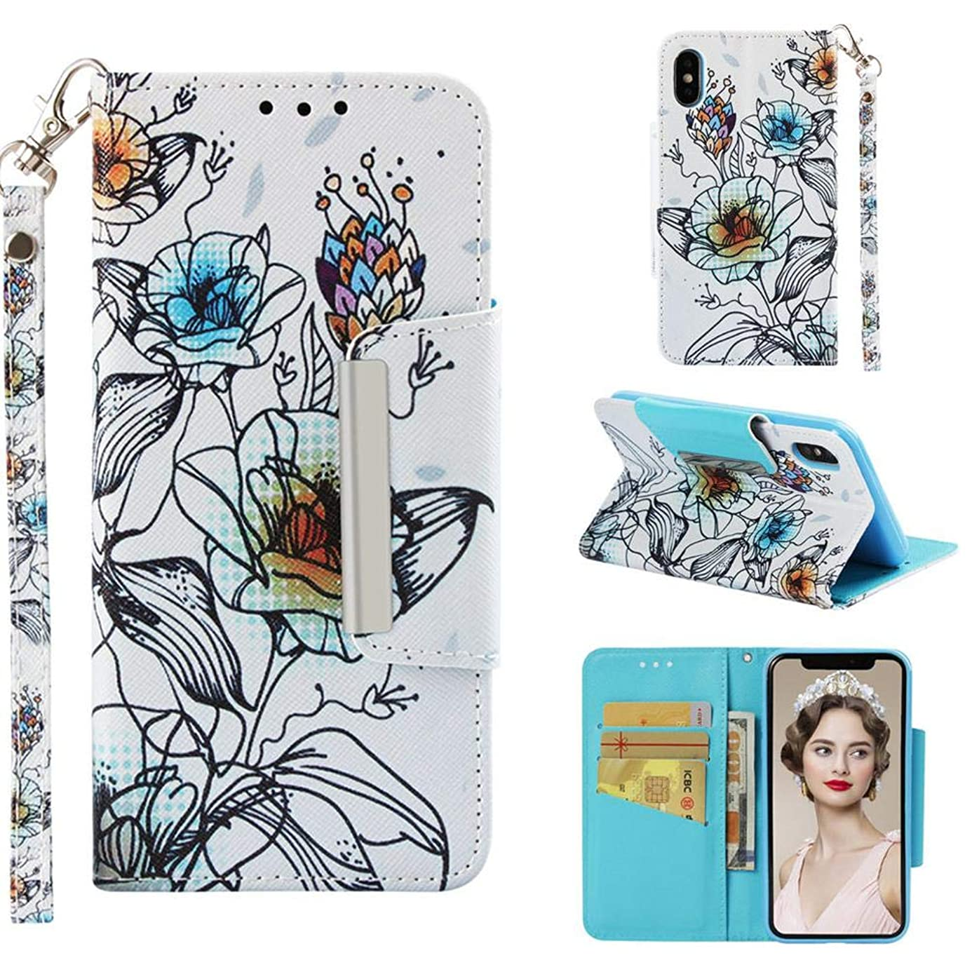 Case for iPhone Xs Max,3D Printing PU Leather Shockproof Inner TPU Bumper Slim Kickstand Card Holder with Wrist Strap & Magnetic Closure Compatible with Apple iPhone Xs Max -Lily