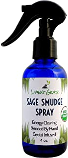 Living Gear White Sage Smudge Spray with Palo Santo Sticks - USDA Organic and Infused with Crystals - Clear Negative Energy and Restore Balance and Harmony Without Smoke