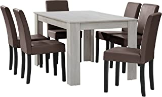[en.casa] Table à Manger chêne Blanc avec 6 chaises Marron Cuir-synthétique rembourré140x90