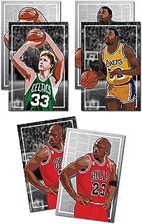 Oakley Graphics 3 Posters of 80's-90's NBA - Michael Jordan, Larry Bird, Magic Johnson Art Prints - Buy 1 Get 2 Free, 3 Total Prints (2-Sided) (Large Set - 17