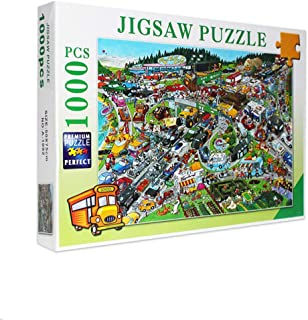 Jigsaw Puzzle for Adults 1000 Pieces - Beautiful Cartoon Busy City - DIY Set Unique Gift Home Decor Adult Children's Educa...