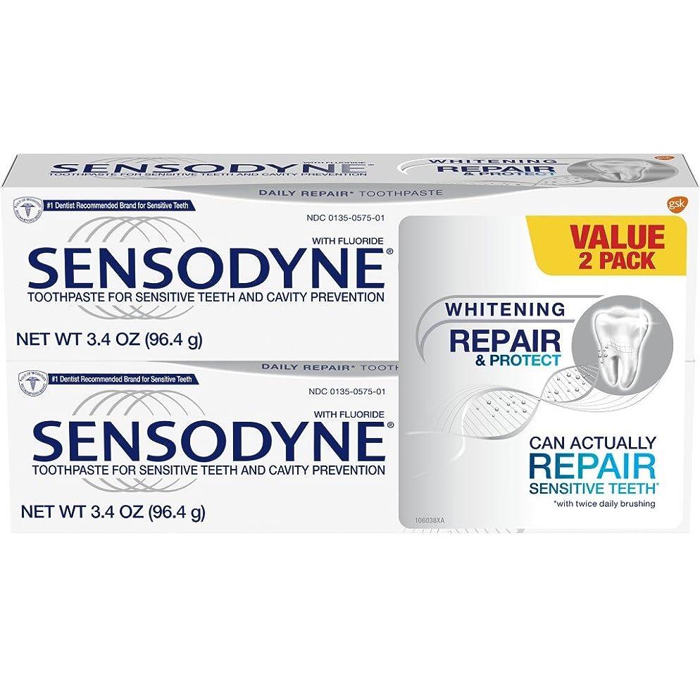 Sensodyne Repair & Protect Whitening Sensitivity Toothpaste for Sensitive Teeth, 3.4 ounces (Pack of 2)
