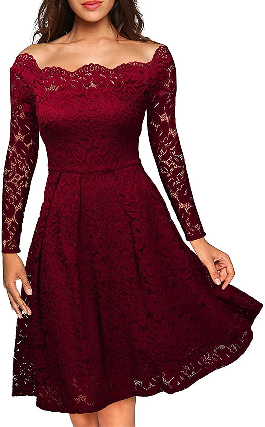 Allonly Women Elegant Sexy Off Shoulder Board Collar Lace Up Floral Long Sleeve Flouncing Dress Cocktail