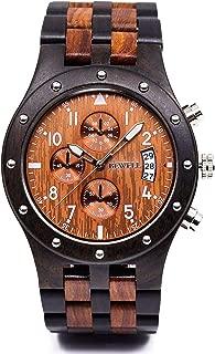 W109D Sub-dials Wooden Watch Quartz Analog Movement Date Wristwatch for Men