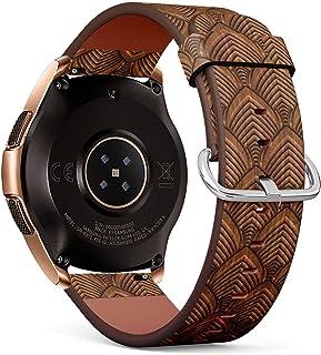 متوافق مع ساعة سامسونج جالاكسي (42 مم) - سوار معصم جلدي مع دبابيس سريعة الفك (منقوشة على الخشب)
