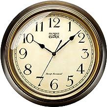ساعت دیواری بزرگ یکپارچهسازی با سیستمعامل Plumeet ، ساعتهای خاموش کلاسیک 13 '' غیر اتاق نشیمن تزئینی اتاق نشیمن ، باتری کارکرد (برنز)