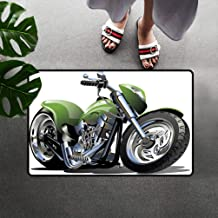 Motorcycle Doormats, Motorcycle Design with Fancy Supreme Gears and Tires Action Urban Life Print Low Profile Door Mat/Rug with Non-Slip Back, 16