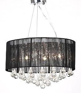 vidaXL Lámpara de Araña con 85 Cristales Pantalla Negra Luz Techo de Cristal