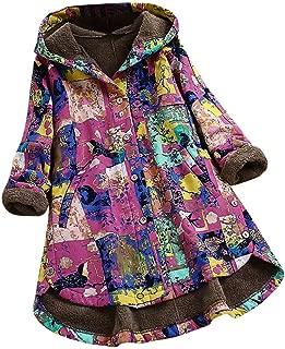 🍒 Spring Color 🍒 Womens Winter Vintage Printed Long Sleeve Coat Hoodie Thicken Warm Fleece Pocket Zip Jacket Plus Size